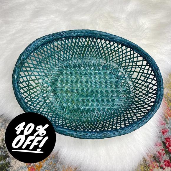 Vintage Oval Teal Blue Wicker Basket Wall Art Boho